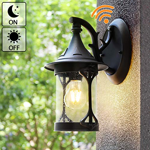 Dusk to Dawn Outdoor Lighting, Outdoor Wall Lamps Sconces House Light Porch Light Lantern Wall Light with E26 Socket Led Light Bulb, Anti-Rust Seeded Glass Waterproof Black Lamp for Garden, Porch