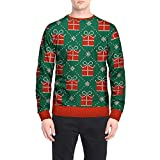 FANOUD Men's Blouse Winter Boxes Printing Tops Christmas Long Sleeve Deer Print Top