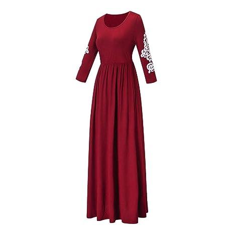 ❤ Apliques Vestidos de Mujer, Vestidos Largos con Cuello en V Boho de Talle Alto y Manga Larga Absolute: Amazon.es: Ropa y accesorios