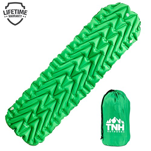 Inflating Lightweight Sleeping Pad With 2 Air Chambers By TNH Outdoors. Compact Size Inflatable Air Mat For Backpacking Hiking Or Camping - Warm In Winter With Great Insulation