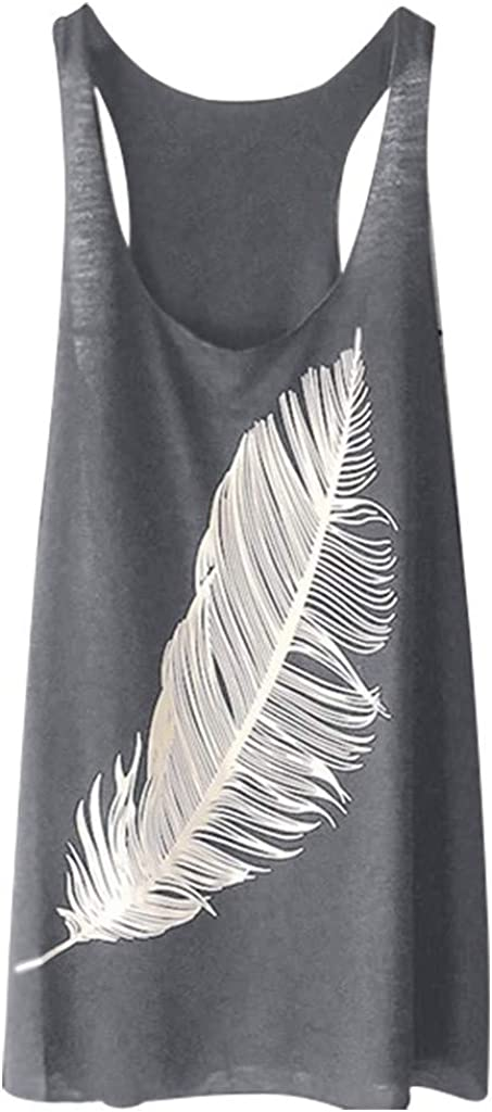 Womens Sleeveless Crewneck Tank Top Ladies Summer Cotton Casual Feather Print Vest Racerback Loose Blouse Tops