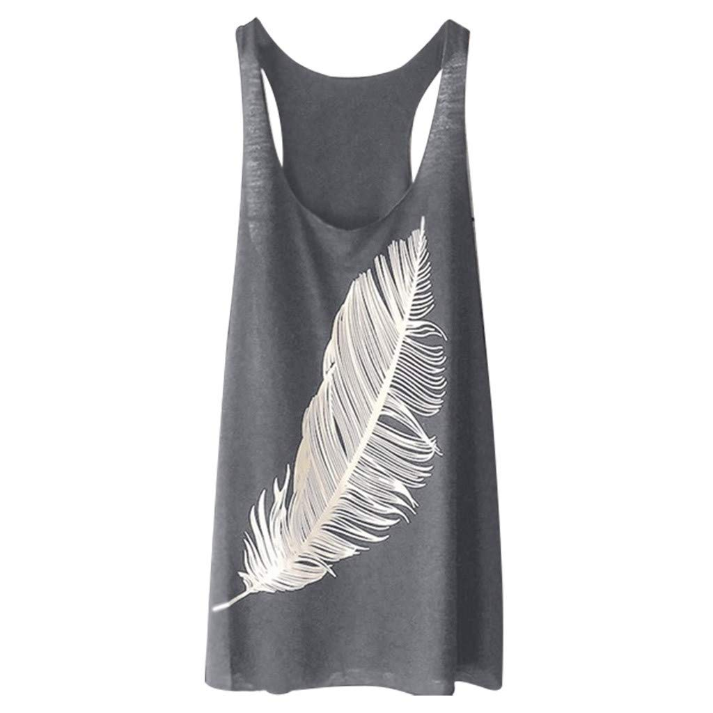 2019 New Women's Summer Feather Print Long Vest Fashion Ladies Top Under 10 Dollars Summer Gray