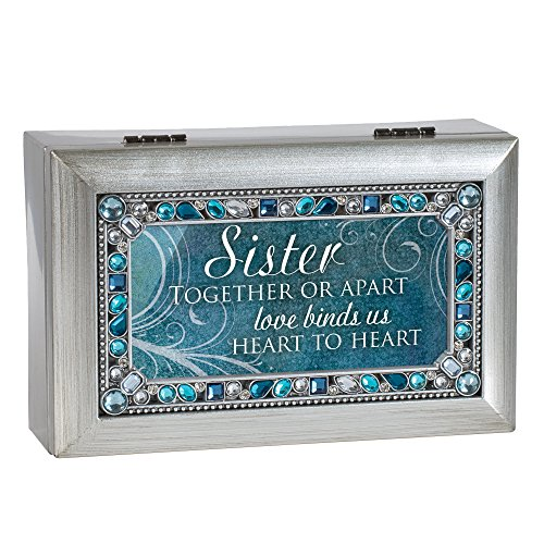 - Cottage Garden Sister Love Heart Silver Tone Jewel Beaded Petite Music Box Plays You Light Up My Life