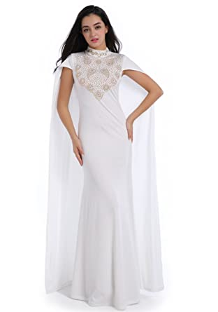 ENLACHIC Women Rhinestone Long Formal Gown Wedding Party Cape Dress Gown ,White,M