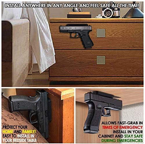 Magnet Mount Desk Handgun Holder 3M Tape Holster Multi Angle Adjustable Black