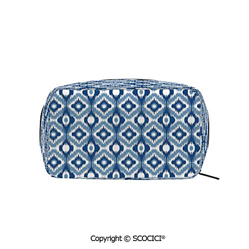 (Travel Cosmetic Bag Portable Makeup Pouch Ethnic Ikat Design with Regular Multi Shaft Loom Uneven Twill Trend Motif Decorative makeup clutch for Girls Ladies Women )