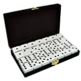 Domino Double 6 White Tiles Jumbo Tournament Size w/Spinners