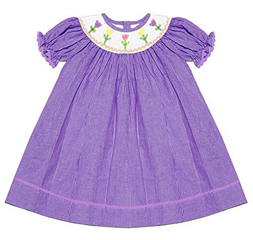 Connie's Kids Girl's Smocked Tulips Easter Dress Lavender Check (2T)