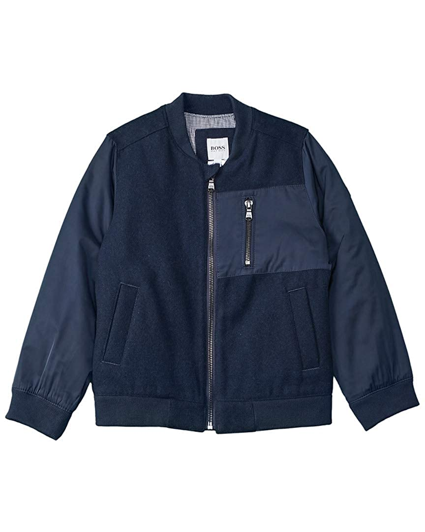 Blue 5A Hugo Boss Boys Wool-Blend Bomber Jacket