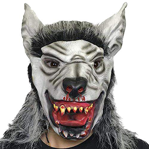 Scary As Hell Wolf Mask - VIVITY Halloween Werewolf Scary Mask, Latex