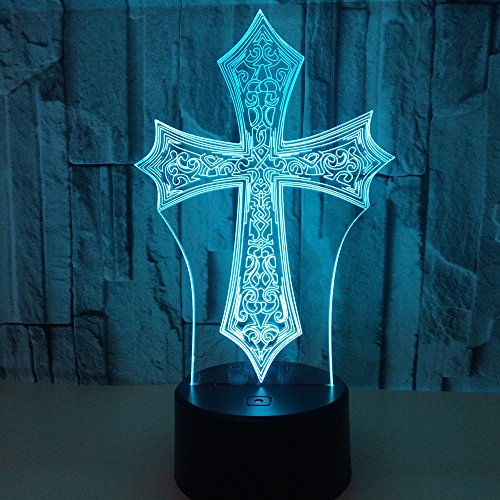 Beside Lamp Lamp Night Lights As a Gift 7 Colors Change LED for Desk Table with Multicolored USB Powered Home Decoration Best Gift for Children (Cross) by King's Bridal (Image #6)