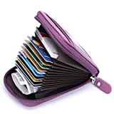 Leather Credit Card Wallet with Zipper, MaxGear RFID Credit Card Holder for Women Ladies Wallets