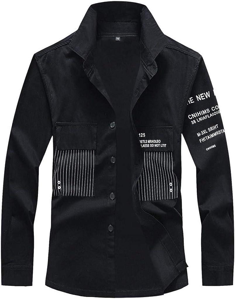 Mens Long Sleeve Slim Fit Shirt Jacket Casual Button Down Jackets Lapel Denim Canvas Coat Outwear