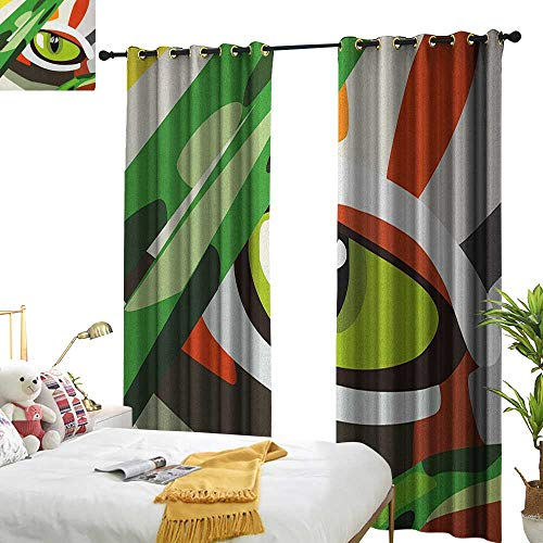 Light Luxury high-end Curtains Eye Wild Feline Cat Tiger Eye Behind Bushes Abstract Nature Dangerous Predator Vibrant Art Noise Reducing W120 x L96 Multicolor