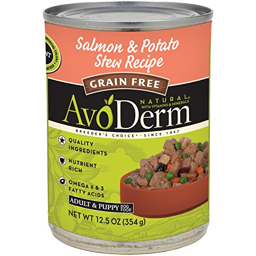 AvoDerm Natural Grain Free Salmon Meal & Potato Stew Recipe Canned Wet Dog Food, 12.5-Ounce Cans, Case of - Dog Natural All Canned Food