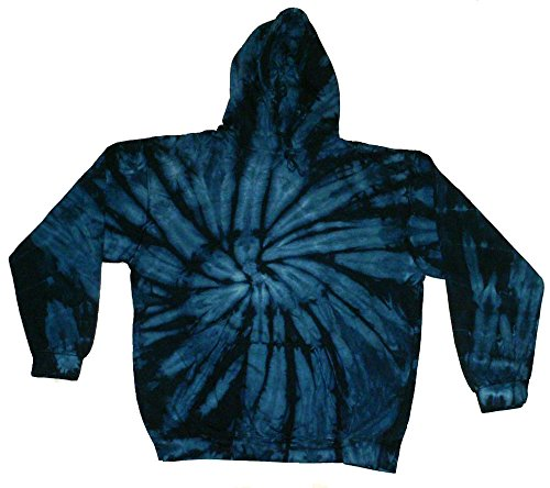 Tie Dye Blue Navy Hoodie Kids and Adult S-3XL Colortone Pockets No Zipper Long Sleeve (Youth S (6-8))