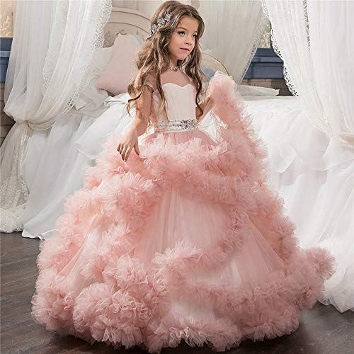 Costume Cosplay Princess Children's Princess Dress Flower Girl Wedding Evening Dress Mopping Long Skirt Girls Pettiskirt Costume Fancy Party (Color : Pink, Size : 6-7T) ()