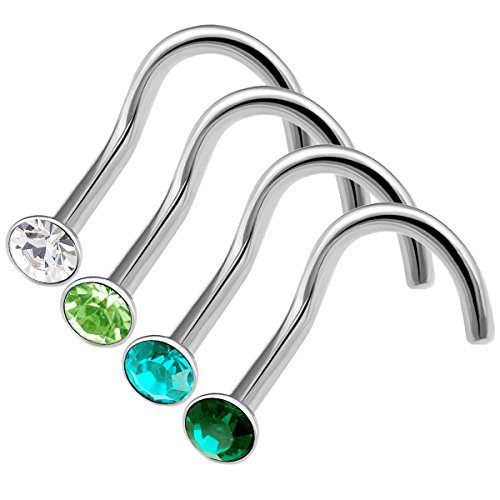 Peridot Nose Screw (4pcs 20g 0.8mm nose rings studs screw Surgical Steel Nostril Rings Piercing jewelry 2.5mm Crystal BOAP CR BZ PE ER)