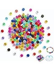 Smiley Face Beads, 100pcs Multicolor Happy Smiley Face Beads Handmade Spacer Beads With Elastic String for Kids Jewelry Smiley Face Beads, 100pcs Multicolor Happy Smiley Face Beads Handmade Spacer Beads With Elastic String for Kids Jewelry Bracelets Making Girl Women Diy Craft Decor Necklaces Key Chains Hair Charms Making Girl Women Diy Craft Decor Necklaces Key Chains Hair Charms