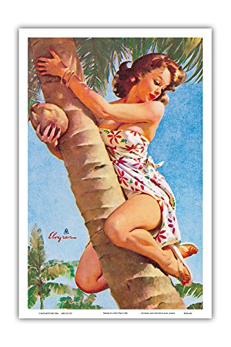 Pacifica Island Art Pick of the Crop (Up a Tree) - Hawaiian Pin Up Girl - Vintage Pin Up Calendar Page by Gil Elvgren c.1964 - Hawaiian Master Art Print - 12 x 18in -