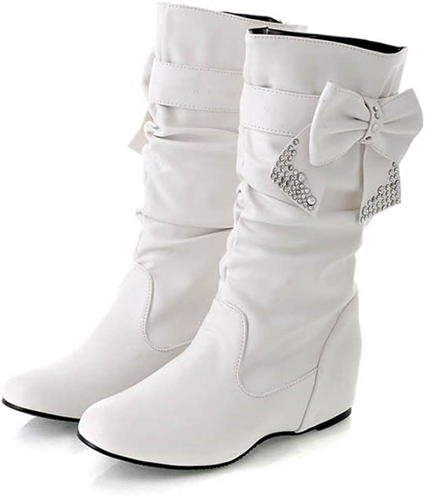 US Summerwhisper Womens Cute Bowknot Rhinestone Heighten Mid Calf Boots White 10 B M
