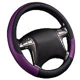 CAR PASS Rhombus Leather Universal Steering Wheel Cover, Fit for Suvs,Trucks,Cars,Sedans,Vans(Black and Purple)
