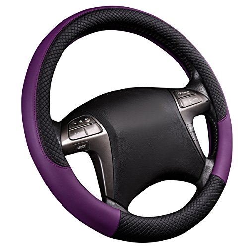 Covers Steering Wheel Superior (CAR PASS NEW ARRIVAL Rhombus Leather Universal Steering Wheel Cover, Perfect fit for vehicles,Suv(Black And Purple))