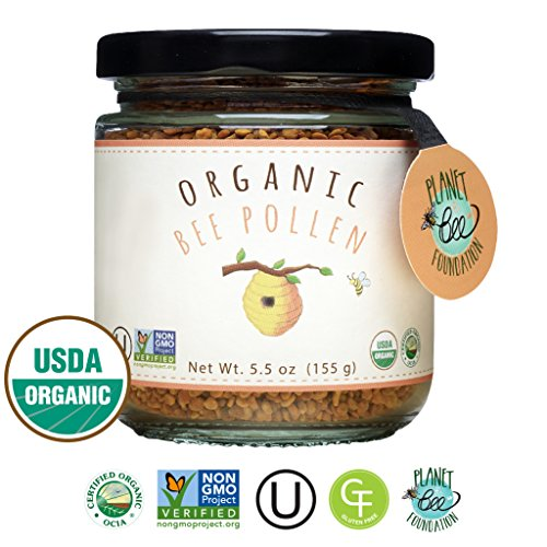 GREENBOW Organic Bee Pollen - 100% USDA Certified Organic, Pure, & Natural Bee Pollen - Superfood Packed with Proteins, Vitamins & Minerals - Non-GMO, Kosher Certified, Gluten Free - 155g (Bee Pollen Granules)