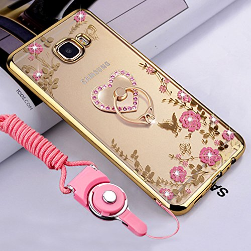 Galaxy J7 Prime Case, Galaxy On7 Case, ikasus Pink Butterfly Flower Bling Crystal Rhinestone Diamonds Clear Rubber Golden Plating Frame & Pink Straps Love Diamonds Kickstand Soft TPU Case (Diamond Tpu Rubber Case)