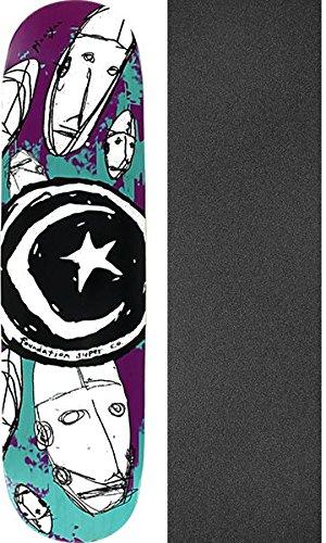 利得思春期シルエットFoundation Skateboards Star & Moonロボットスケートボードデッキ – 7.75