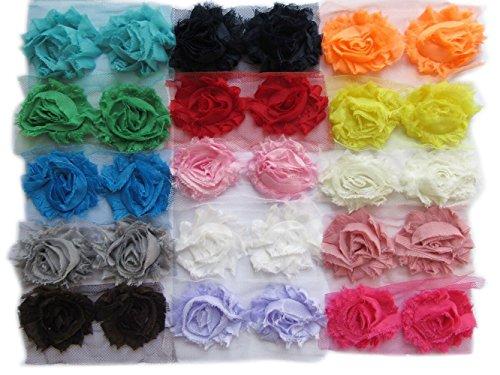 Rosette Chiffon (YYCRAFT 60 pieces Solids Shabby Flowers Trim Fabric Rose - Chiffon Fabric Roses - 2.5