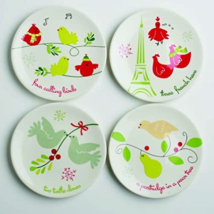 christmas holiday appetizer plates set4