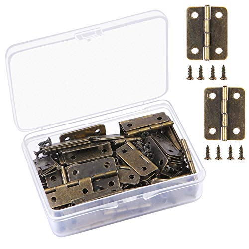 Aneco 50 Pieces 25x19 mm Antique Bronze Mini Hinges Retro Butt Hinges and 200 Pieces Replacement Hinge Screws with Storage Box Brass Plated Butt Hinges