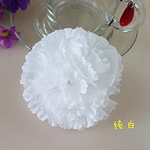 FidgetFidget Artificial Silk Carnations Flowers Heads Party Wedding Home Decoration 50X 100X White 50 51