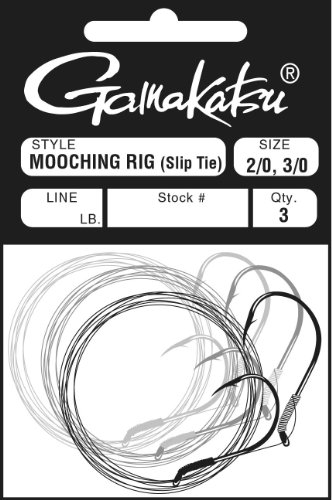 Gamakatsu Slip Tie Mooching Rig 5/0, 6/0 Hooks (Red, 40-Pounds Leader)