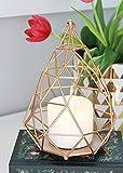 Portofino Gold Geometric Metal Wire Candle Lantern or Terrarium - 8.5'' Tall x 6'' Wide