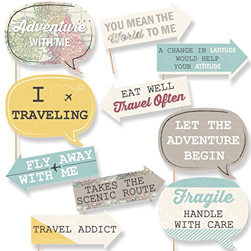 Funny World Awaits - Travel Themed Photo Booth Props Kit - 10 Piece]()