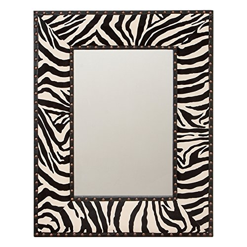 - Deco 79 72004 Varnished Wood Leather Mirror, 24-Inch
