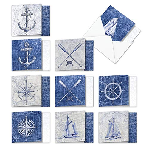 - Nautical World - 10 Classic Thank You Cards with Envelopes (4 x 5.12 Inch) - Appreciation Note Card Set with Sail Boat, Anchor, Oars - Sailing Notecards, Gratitude Greeting Note Card AMQ6671TYG-B1x10
