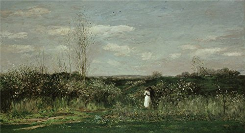 Polyster Canvas ,the Vivid Art Decorative Prints On Canvas Of Oil Painting 'Charles Francois Daubigny Le Printemps ', 8 X 15 Inch / 20 X 37 Cm Is Best For Bathroom Decoration And Home Decor And Gifts