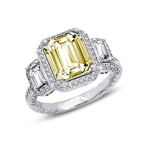 Canary Yellow Three Stone Sterling Silver Cubic Zirconia Engagement Ring - 7