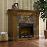 Southern Enterprises Elkmont Electric Fireplace, Salem Antique Oak Finish with Dark Earth Tone Tiles