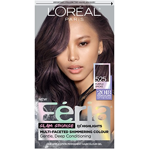 L'Oréal Paris Feria Multi-Faceted Shimmering Permanent Hair Color, 525 Purple Smoke, 1 kit Hair Dye