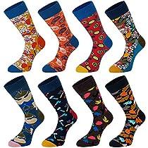Empino Mens Fun Dress Socks – Colorful Funky Patterned Socks – Novelty Casual Cotton Crew Socks