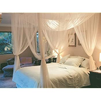 tangkula 4 corner post bed canopy mosquito net full queen king size netting bedding white