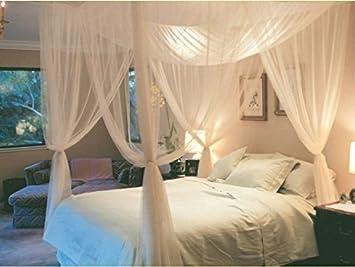 Amazon.com: White 4 Corner / Poster Bed Canopy Mosquito Net Full ...