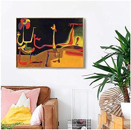 WSTDSM Joan Miroes Hombre Mujer Delante Lienzo Carteles Impresiones Pared Arte Pintura ImagenDecorativa Decoración del Hogar 24X36 En Sin Marco