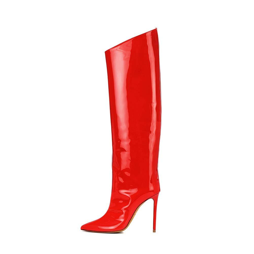 PFMY.DG Damen Künstliches PU Hohe Stiefel Spitz Stilett Verdicken Kniestiefel Ärmel Warm halten Lange Stiefel Herbst Winter Mode rot