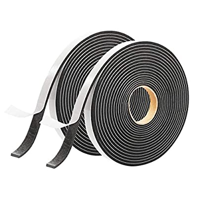 Seal Foam Tape,1/2 Inch W x 1/8 Inch T Weather Stripping for Door and Window,High Density Single Sided Closed Cell Door Insulation Weather Strip,2Pack 16FT Long Each