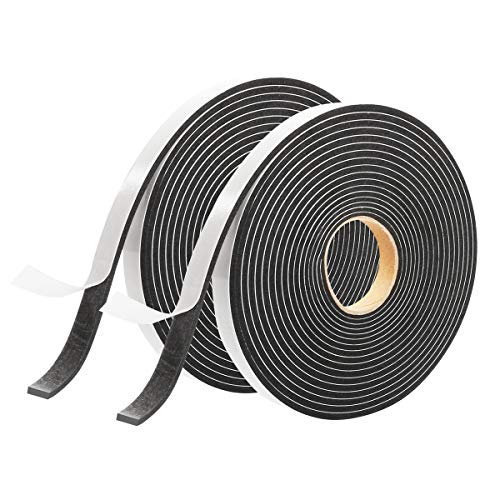 "2 Pack Foam Tape Weatheratrip for Door and Window Insulation, Single Sided Foam Strips Adhesive, High Density Foam Seal Tape, Closed Cell Foam Seal Strip Tape Craft(Single:1/2""Wx1/8""Tx16FT, Black)"
